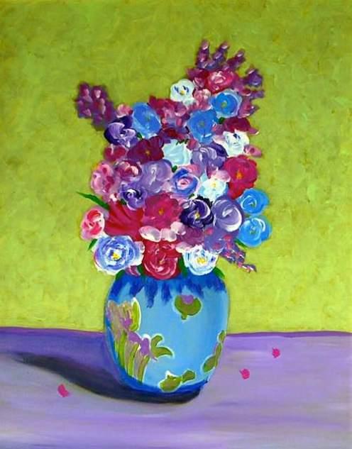 Loosey Juicy Fleurs 16, 20x16, acrylic on canvas