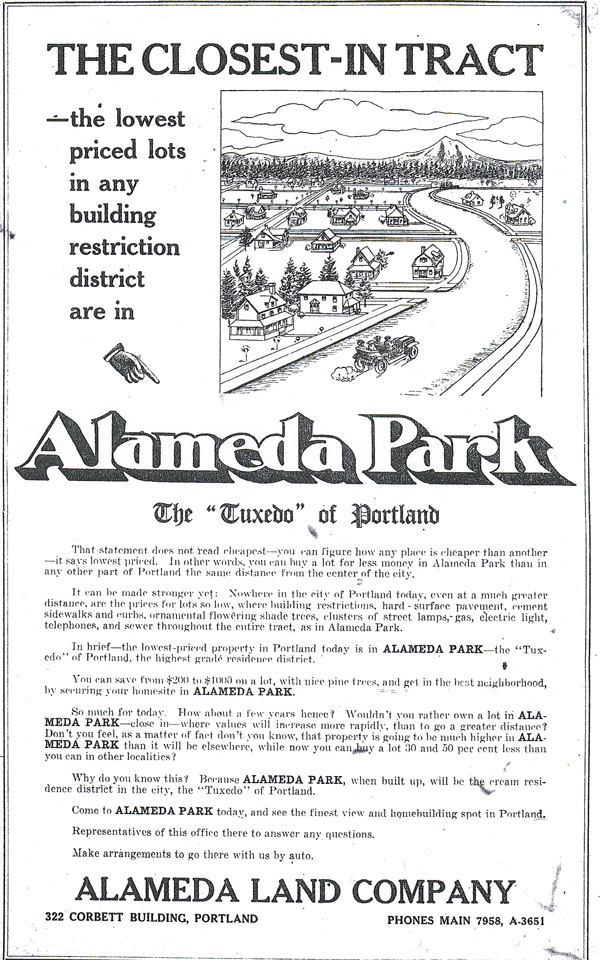 10-24-09 Advertisement for Alameda Park Neighborhood, from The Oregonian