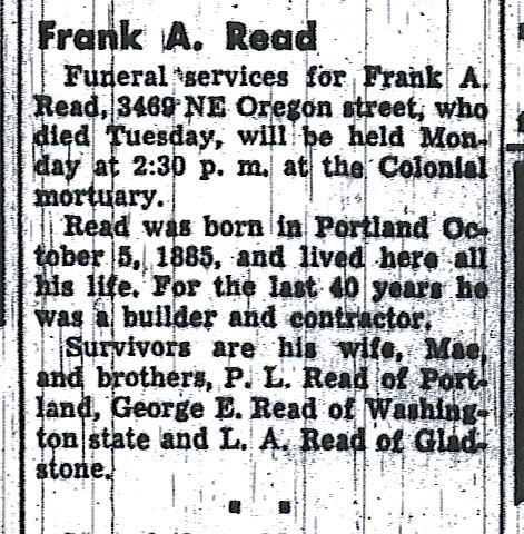 Frank Read Obituary, Oregon Journal, 24 June 1950