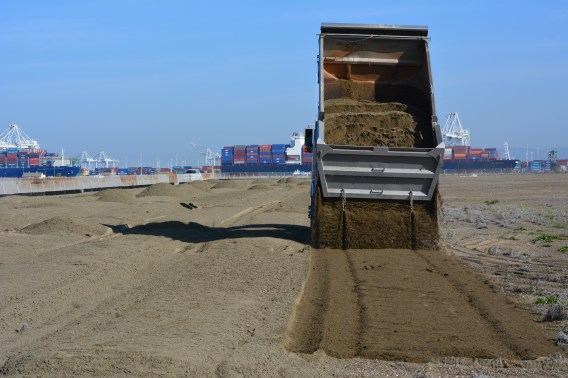 2016 sand delivery at Alameda Point least tern nesting grounds.
