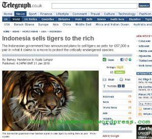 Pemerintah Indonesia Tawarkan Harimau Sumatera Sebagai Peliharaan