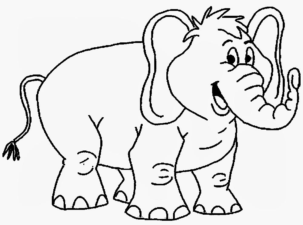 Gambar Mewarnai Anak Gajah Yang Lucu