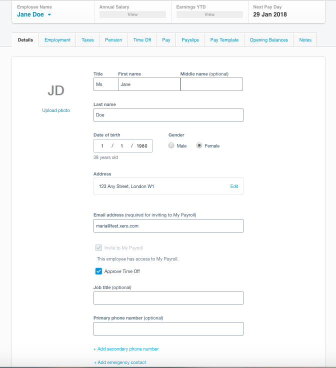 Xero Payroll's new employee pages reduce time and errors when setting up an employee.
