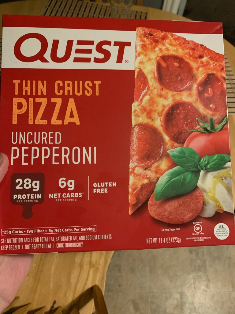 A box of Quest thin crust pizza