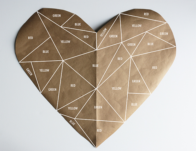 Geometric Heart Stained Glass DIY-1 colors
