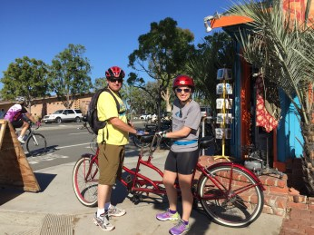Dad and I with our tandem bicycle called The Tank!