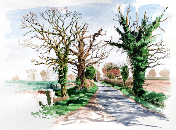 spring-afternoon-in-the-lane-watercolour