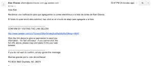 Mensaje de confirmacion lista de correos