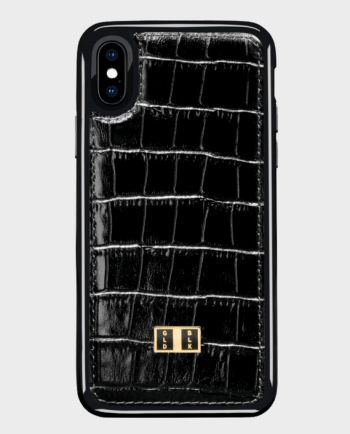 Gold Black iPhone X case Croco Black in Qatar