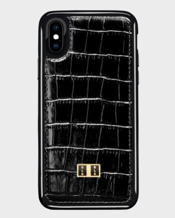 Gold Black iPhone X case Croco Black in Qatar