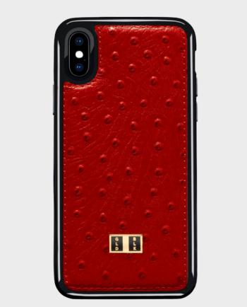 Gold Black iPhone X Leather Case Ostrich Red in Qatar