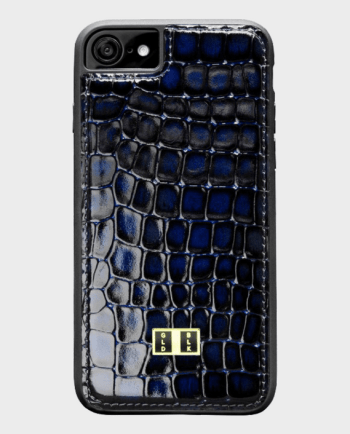 Gold Black iPhone 8 Leather Case Milano Blue in Qatar