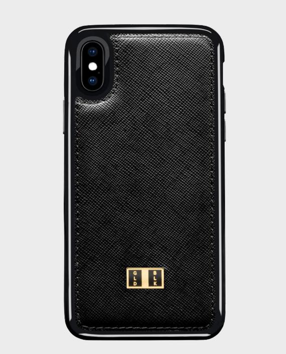 Gold Black iPhone X Leather Case Saffiano Black in Qatar