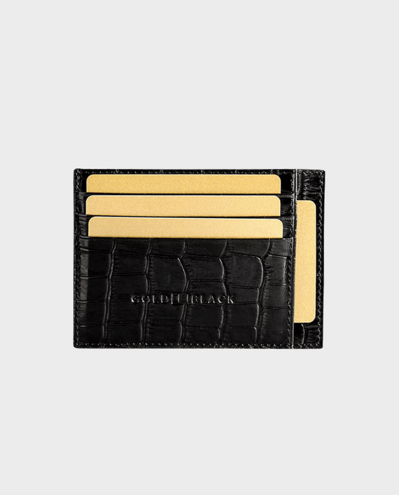 Gold Black Card Holder Bill Croco Black