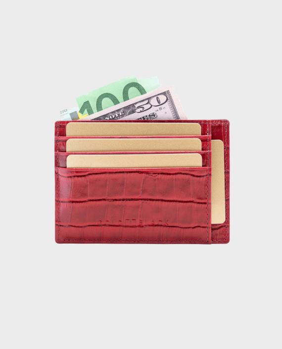 Gold Black Card Holder Bill Croco Red