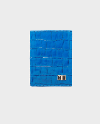 Goldblack Bifold Slim Wallet Croco Blue in Qatar