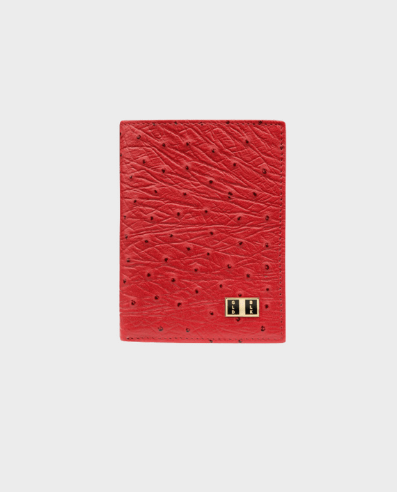 Goldblack Bifold Slim Wallet Ostrich Red in Qatar