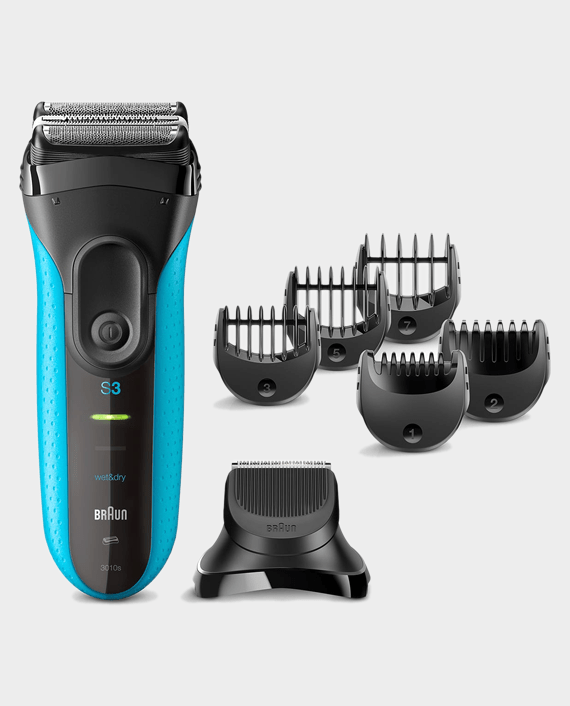 Braun Series 3 Shave&Style 3010BT Wet & Dry Shaver with Trimmer Head and 5 Combs - Blue in Qatar