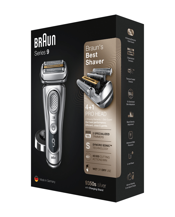 Braun Series 9 9350s Wet & Dry Shaver with Charging Stand - Silver