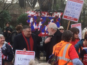 Cllr Alan Hall and Rev William Chatterton with Save Lewisham Hospital Campaigners on the march