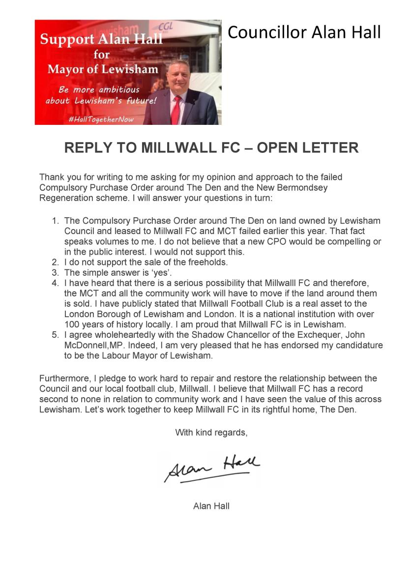 Reply to open letter - Millwall FC and MCT 08-2017 (1)