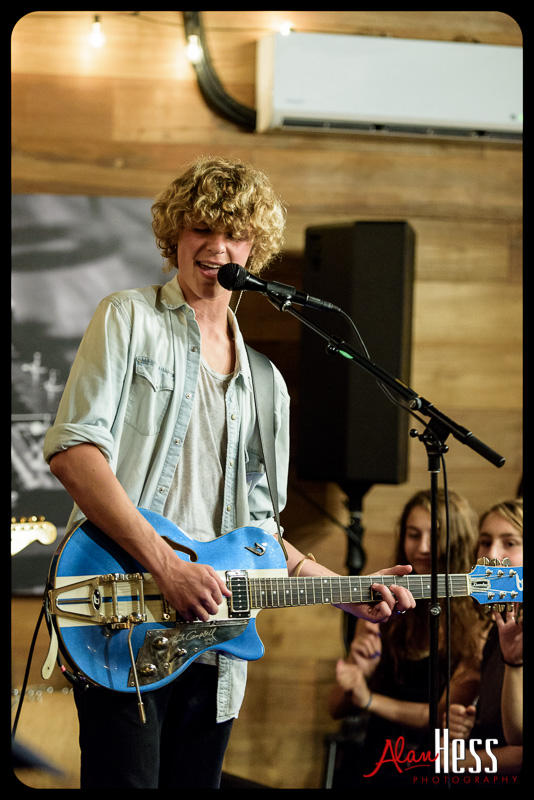 Cody Lovaas performs at the Switchfoot Bro-Am studios on June 13, 2015