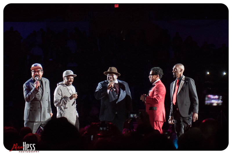 Cedric the Entertainer, George Lopez, Eddie Griffin, D.L. Hugely and Charlie Murphy perform during the Comedy Get Down Tour at the Valley View Casino Center on 1/30/2016 in San Diego, CA