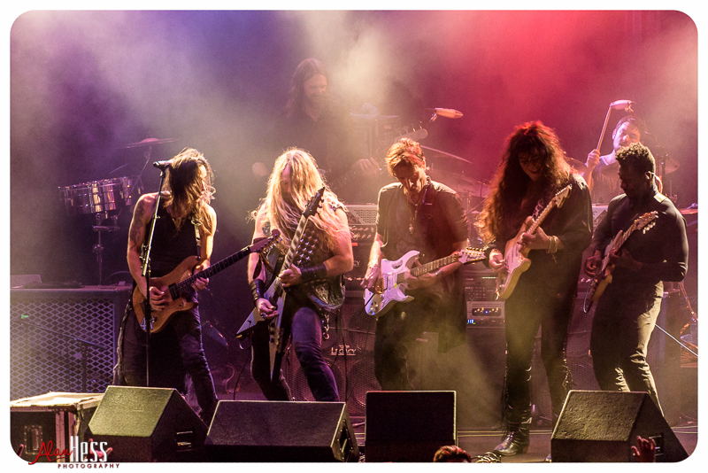 Generation Axe featuring Steve Vai, Yngwie Malmsteen, Zakk Wylde, Nuno Bettencourt, and Tosin Abasi performs on April 10, 2016 at Humphreys Concerts By The Bay in San Diego, California