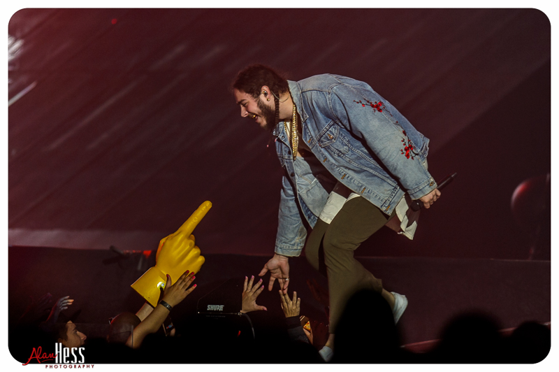 Post Malone opens for Justin Bieber during his PURPOSE World Tour at the Valley View Casino Center in San Diego, CA, on March 29, 2016