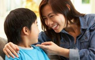 Parent praising child