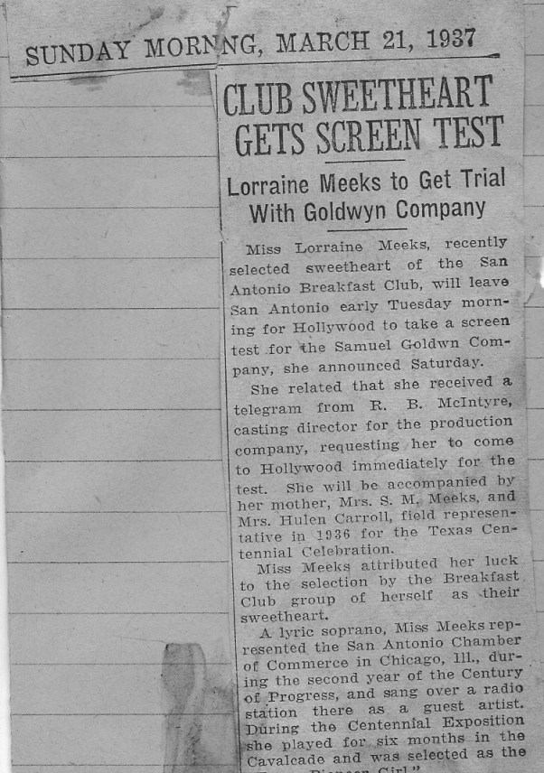 newspaper clipping announcing screen test for Lorraine Meeks at Samuel Goldwyn Company