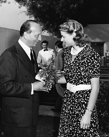 photo of director Michael Curtiz and Ingrid Bergman during filming of Casablanca