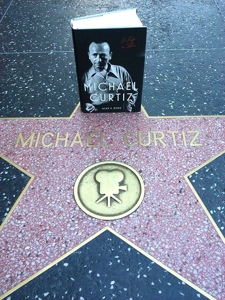 photo of biographical book Michael Curtiz: A Life in Film placed on the Hollywood Walk of Fame star for director Michael Curtiz