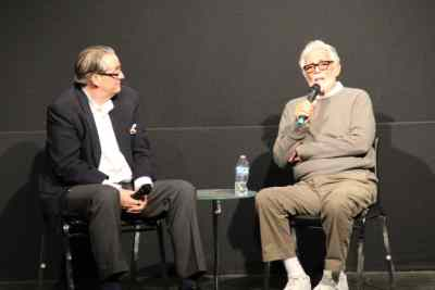 Alan K. Rode and David Hedison on stage in Palm Springs, 2015