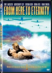 cover art from DVD of movie From Here To Eternity featuring Burt Lancaster and Deborah Kerr kissing in surf as war planes approach on the horizon
