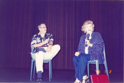 Mala Powers on stage with Alan K. Rode