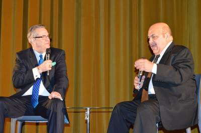Jon Polito on stage with Alan K. Rode