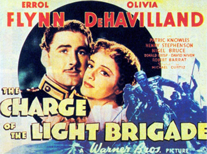 tinted movie theater lobby card for movie The Charge of the Light Brigade featuring Errol Flynn and Olivia de Havilland cheek to cheek