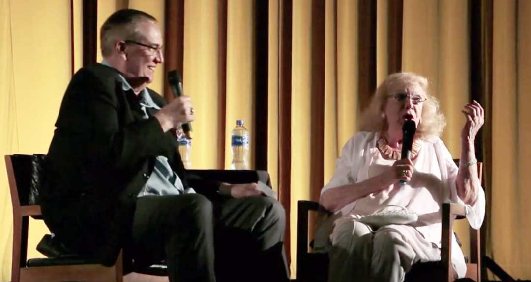 photo of Jan Shepard being interviewed by Alan K. Rode on stage