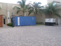 Containers of food, generators set up