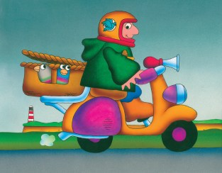 Bob on scooter - original art