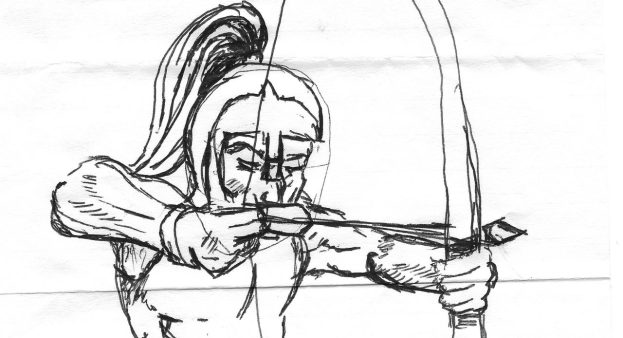 Line drawing of an archer