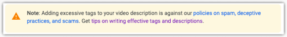 Youtube warning for tag misuse