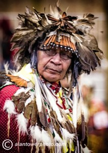 Tribal elder in feather and dance costume. Native American Dance. www.alantowerphoto.com Alan Tower Spokane Photographer