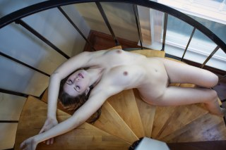 The spiral staircase offered a grand opportunity for a memorable photo of Sienna.