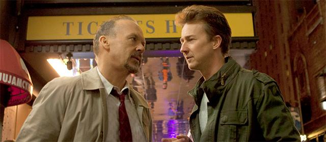 Michael Keaton et Edward Norton dans Birdman (2015)
