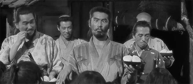 Minoru Chiaki, Isao Kimura, Toshirô Mifune et Seiji Miyaguchi dans Les Sept Samouraïs (1954)