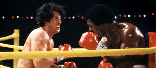 Sylvester Stallone et Carl Weathers dans Rocky II (1979)