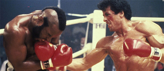 Mister T. et Sylvester Stallone dans Rocky III (1982)