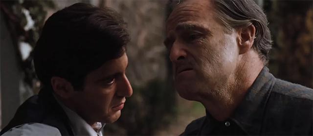 Al Pacino et Marlon Brando dans Le Parrain (1972)